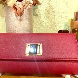 Faux leather and stone elegant clutch-LIKE NEW!